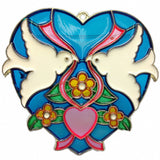Blue Heart Shaped Sun Catcher with Kissing Lovebirds - OktoberfestHaus.com  - 1