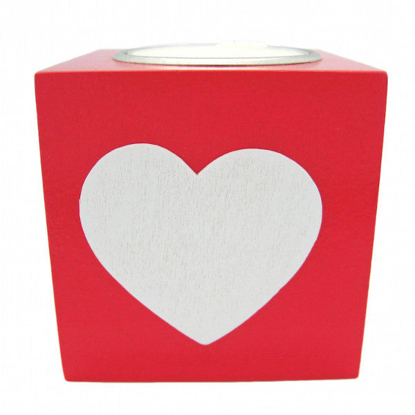 German Gift Idea Square Heart Votive Red - OktoberfestHaus.com  - 1