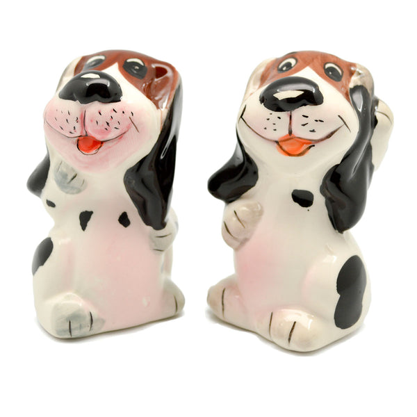 Ceramic Salt and Pepper Sets Dogs Basket