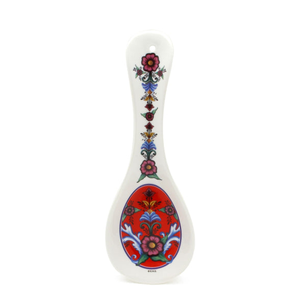 Spoon Rest Gift: Red Rosemaling