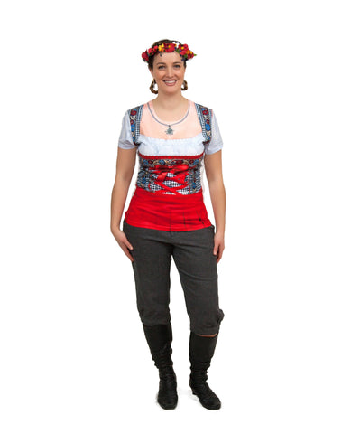 German Costume Dirndl Realistic Faux Red Shirt - GermanGiftOutlet.com