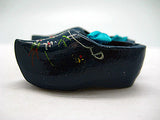 Wooden Shoe Party Favor Blue Clogs w/ Flower Design - OktoberfestHaus.com  - 2