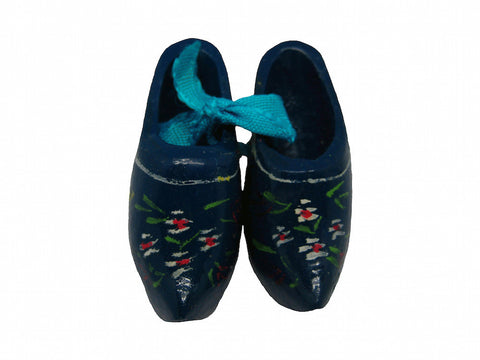 Wooden Shoe Party Favor Blue Clogs w/ Flower Design - OktoberfestHaus.com  - 1