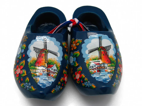 "Wooden Shoe Clogs Dutch Landscape Design Blue (3.25"") - OktoberfestHaus.com"