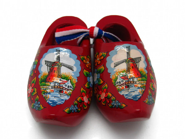 "Decorative Wooden Shoe Clogs Dutch Landscape Design Red (3.25"") - OktoberfestHaus.com"
