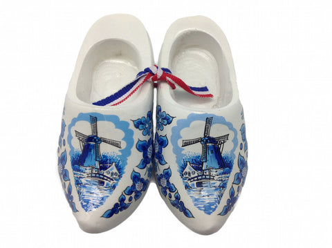 "Decorative Wooden Shoe Clogs Dutch Landscape Design Blue and White (4"") - OktoberfestHaus.com"