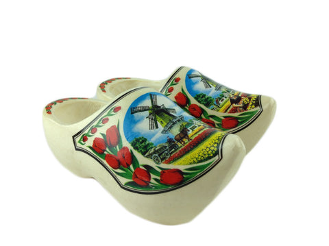 "Dutch  Shoe Clogs w/ Windmill and Tulips Design-6.5"" - DutchGiftOutlet  - 1"