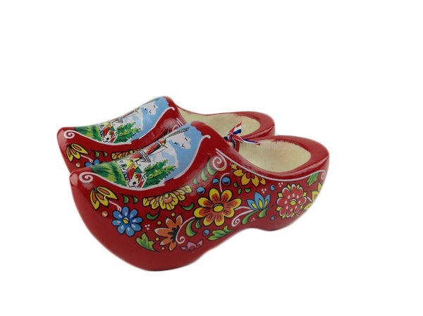 "Wooden Shoe Clogs Dutch Windmill Design Red- 4.25"" - OktoberfestHaus.com  - 1"