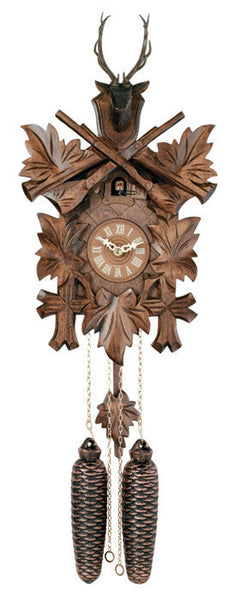 "Eight Day Hunter's Cuckoo Clock with Hand-carved Maple Leaves, Rifles, and Buck-15""Tall - OktoberfestHaus.com"