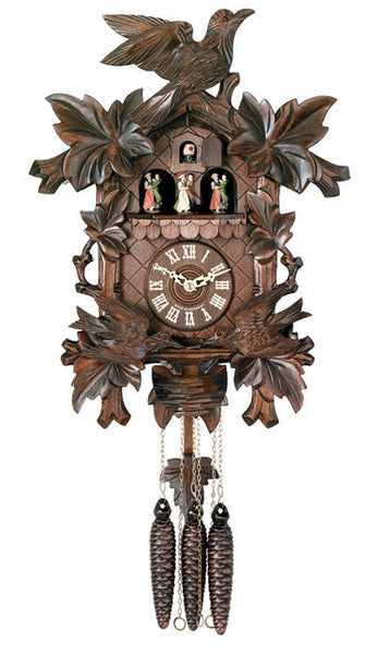 Eight Day Musical Cuckoo Clock with Dancers - Moving Birds Feed Bird Nest - 16 Inches Tall - OktoberfestHaus.com  - 2
