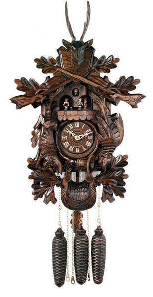 "River City Clocks Eight Day Musical 24"" Hunter's German Cuckoo Clock with Dead Animals - OktoberfestHaus.com"