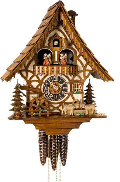 "River City One Day 14"" German Cuckoo Clock with Goats and Turning Waterwheel - OktoberfestHaus.com"