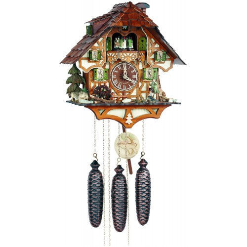 8-Day Musical Cuckoo Clock With Hunter Moving With Binoculars And Waterwheel - OktoberfestHaus.com