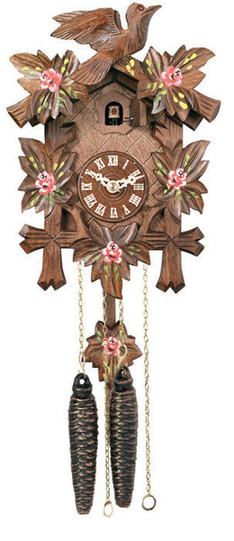 "Five Leaves, One Bird and Painted Roses One Day Authentic German Cuckoo Clock. 9"" Tall - OktoberfestHaus.com  - 1"