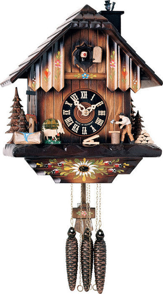 "River City Clocks One Day Musical 11"" German Cuckoo Clock with Man Chopping Wood and Chimney Sweep - OktoberfestHaus.com"