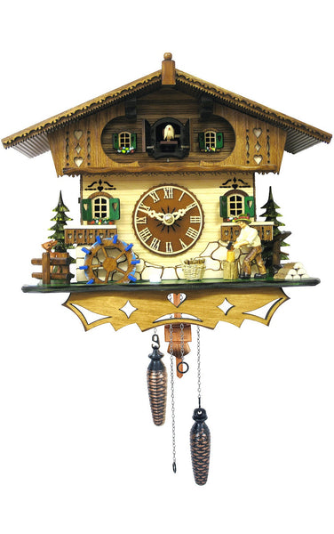 Black Forest Quartz German Cuckoo Clock With Turning Waterwheel and Wood Chopper - OktoberfestHaus.com