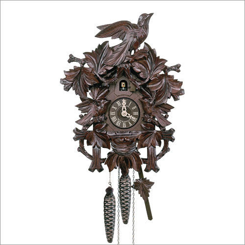 "Schneider 14"" 6 Leaves and 3 Birds Black Forest Honey Colored German Cuckoo Clock - OktoberfestHaus.com  - 1"
