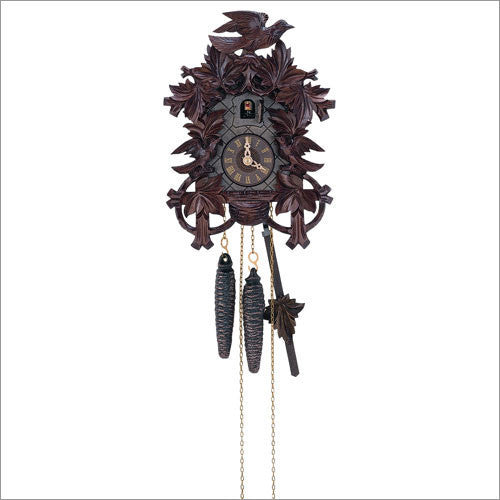 "Schneider 11"" Eight Leaves and Three Birds Black Forest Mahogany German Cuckoo Clock - OktoberfestHaus.com  - 1"