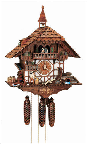 "Schneider Black Forest 24"" Musical Wood Chopper Eight Day Movement German Cuckoo Clock - OktoberfestHaus.com  - 1"