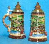 Scenes from Medieval Heidelberg German Stein with Wood Lid - DutchNovelties