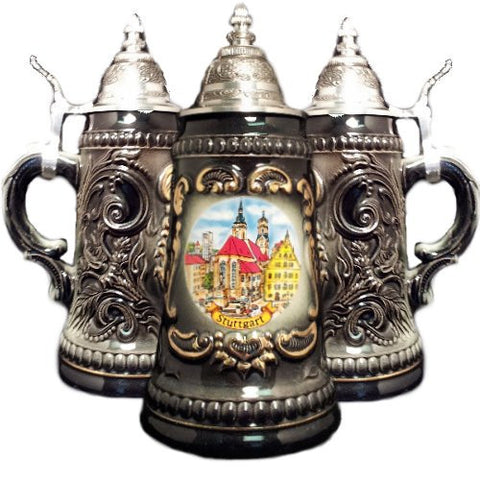 Zoeller & Born 0.25 Liter Stuttgart Black Shield German Beer Stein - GermanGiftOutlet.com