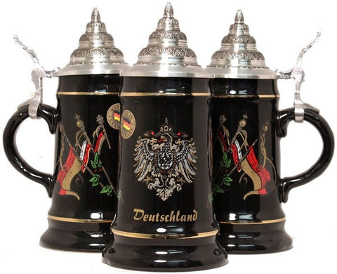 Black Deutschland & Flags German Beer Stein 0.25 Liter From King-Werks - GermanGiftOutlet.com  - 1
