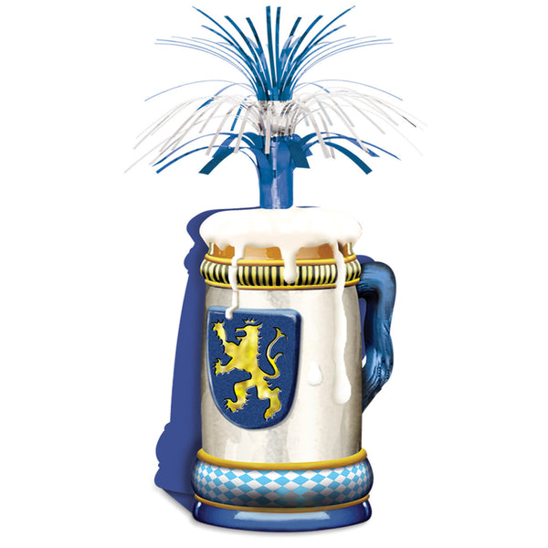Oktoberfest Centerpiece Oktoberfest Centerpiece Beer Stein with Blue Streamers 15 Inches - DutchNovelties