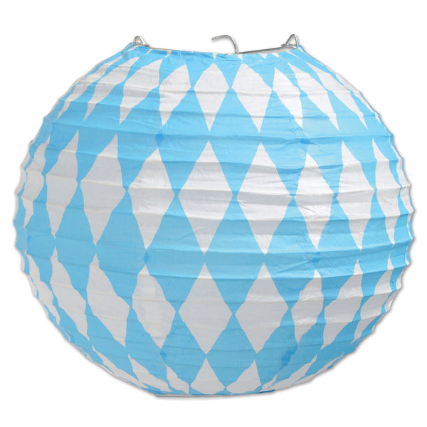 Oktoberfest Paper Lanterns, 9-1/2-Inch, Blue/White - DutchNovelties