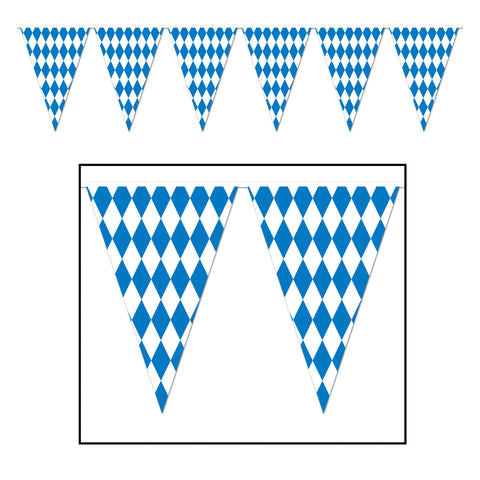 120 Foot Oktoberfest Bavarian Check Flag Pennant Banner - DutchNovelties