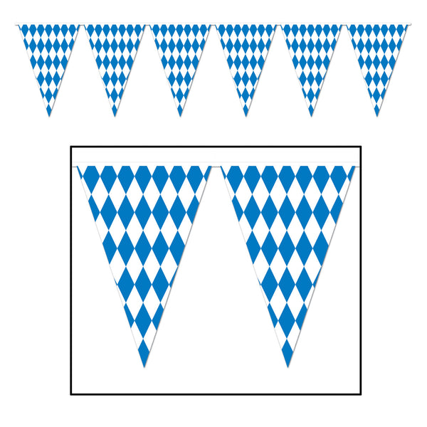 "Blue and White Oktoberfest Pennant 17"" x 120' - DutchNovelties"