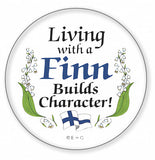 Metal Bage Pin: Living with a Finn - DutchNovelties