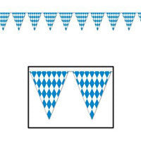 Oktoberfest Bavarian Flag Pennant Banner 11 Inches by 12 Feet - DutchNovelties