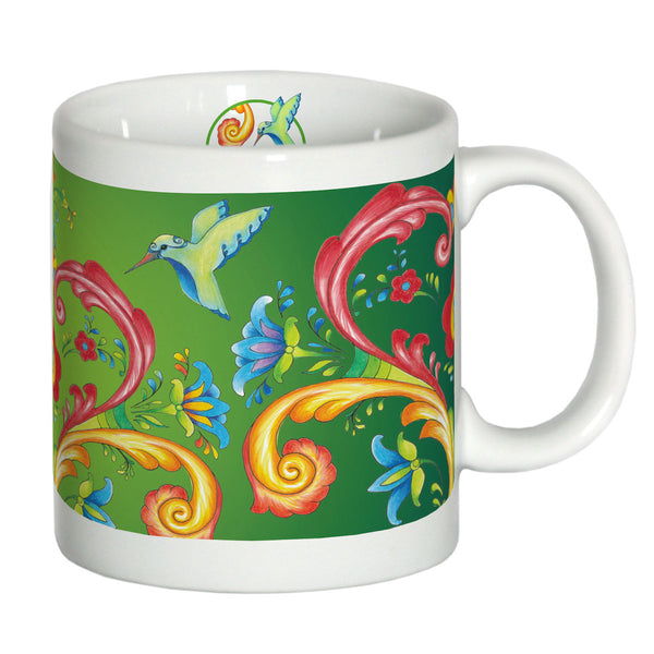 European Green Rosemaling Ceramic Coffee Cup - DutchNovelties