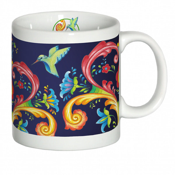 European Blue Rosemaling Ceramic Coffee Cup - DutchNovelties