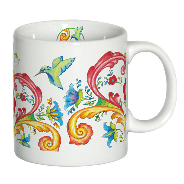 European White Rosemaling Ceramic Coffee Cup - DutchNovelties