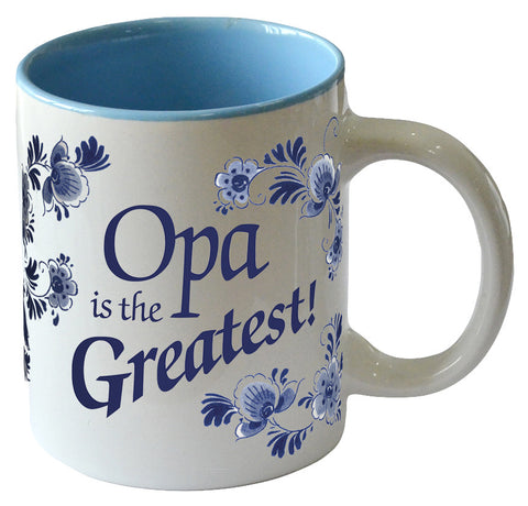 """Opa is the Greatest"" Blue Ceramic Coffee Mug - DutchNovelties"