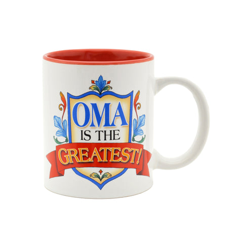 """Oma is the Greatest"" Blue Ceramic Coffee Mug - DutchNovelties"