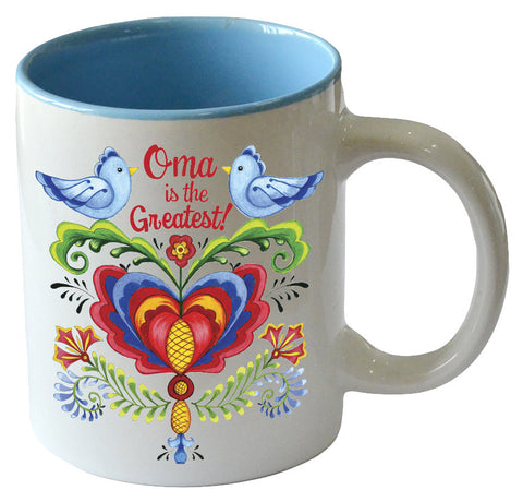 """Oma is the Greatest"" / Bird Design Ceramic Coffee Cup - DutchNovelties"
