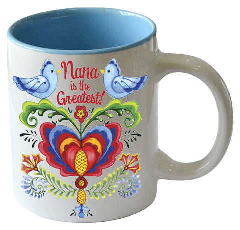 """Nana is the Greatest"" / Bird Design Ceramic Coffee Cup - DutchNovelties"