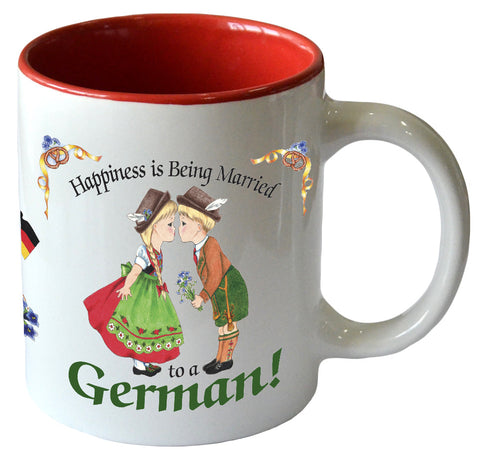 """Happiness is Being Married To A German"" Ceramic Coffee Cup - DutchNovelties"