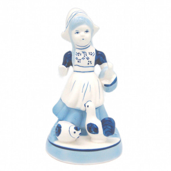 Dutch Gift Delft Figurine: Girl With Chickens - DutchNovelties  - 1
