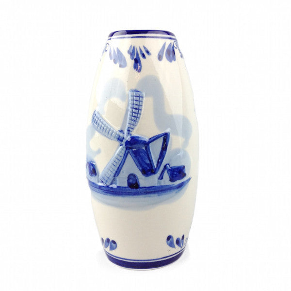 Embossed Windmill Delft Blue Vase - DutchNovelties