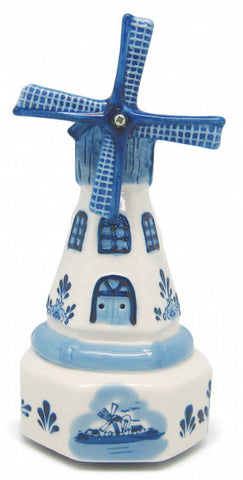 Dutch Ceramic Delft Windmill Music Box Tulip Amsterdam - DutchNovelties  - 1