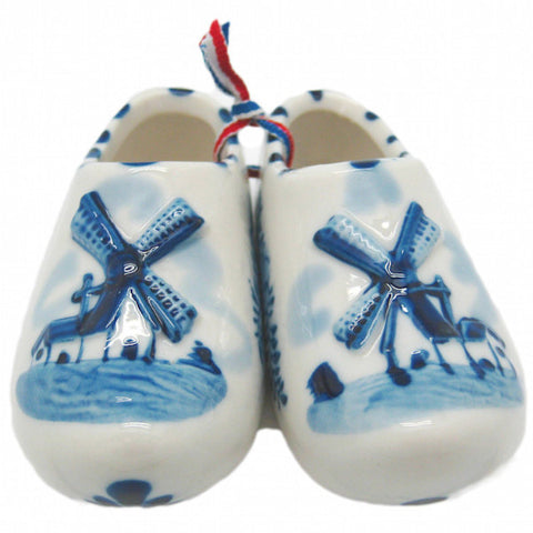 Wooden Shoe Delft Ceramic Shoe Embossed Windmill - DutchNovelties  - 1