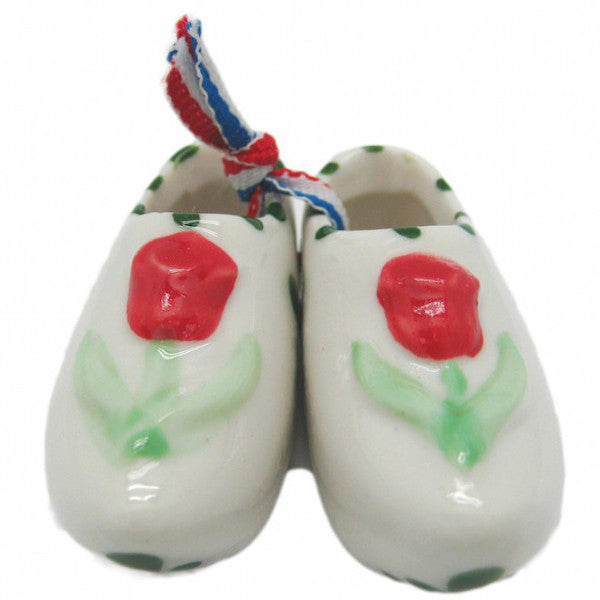 Wooden Shoe Delft Ceramic Shoe Embossed Red Tulip - DutchNovelties  - 1