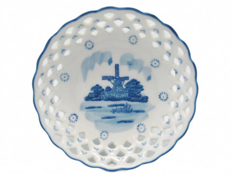 Deluxe Cutwork Round Delft Porcelain Basket - DutchNovelties  - 1