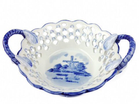 Deluxe Cutwork Round Ceramic Delft Basket - DutchNovelties  - 1