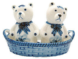 Bears Basket Delft Salt and Pepper Shaker - DutchNovelties  - 1