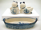 Frogs Basket Delft Salt and Pepper Shaker - DutchNovelties