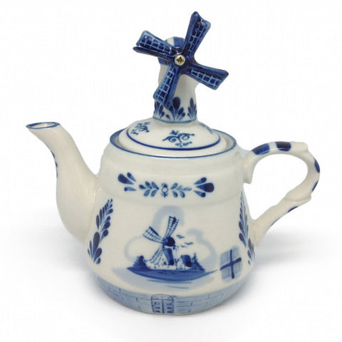Tea Pot with Windmill Lid Delft Blue - DutchNovelties  - 1